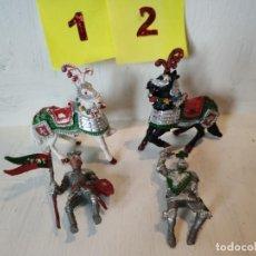 Figuras de Goma y PVC: LOTE 2 JINETES MEDIEVALES CON 2 CABALLOS CON DEFECTO. LAFREDO. Lote 207573993