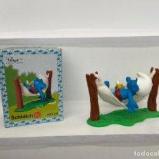 Figuras de Borracha e PVC: PITUFOS PVC - SCHLEICH - PEYO - SUPER PITUFO - HAMACA - EN CAJA. Lote 208291441