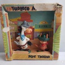 Figuras de Goma y PVC: CAJA DE TIROLOCO MCGRAW Y PEPE TRUENO HUMORISTICOS DE LA T.V. JECSAN. Lote 208411681