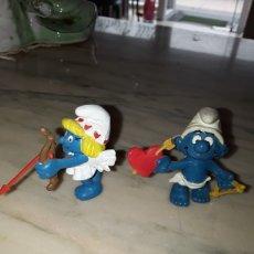 Figuras de Goma y PVC: PITUFO Y PITUFINA CUPIDO 1980 Y 1982 PEYO SCHELEICH. Lote 280595598