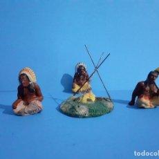 Figuras de Goma y PVC: LOTE INDIOS Y HOGUERA MASA LINEOL ELASTOLIN.. Lote 209881880