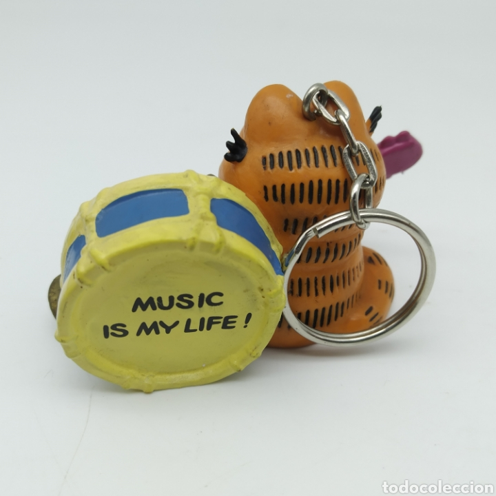 Figuras de Goma y PVC: Garfield Music is my life con guitarra, bombo y trompeta 1978 1981 United Feature, Bully llavero - Foto 2 - 210053710