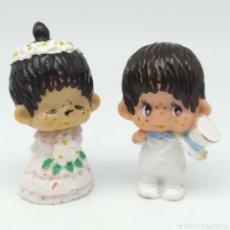 Figuras de Goma y PVC: MONCHICHI PAREJA DE NOVIOS SEKIGUCHI JAPÓN AÑO 1979, MONCHHICHI, MONKIKI, BODA. Lote 210064405