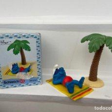 Figuras de Goma y PVC: PITUFOS - SUPER PITUFOS - TOMANDO EL SOL - SCHLEICH. Lote 210398633
