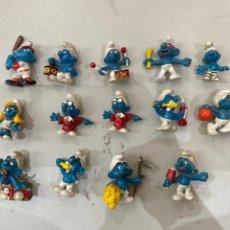 Figuras de Goma y PVC: LOTE 14 PITUFOS ANTIGUOS PEYO -SCHLEICH - PARA COLECCIONAR. Lote 210944777