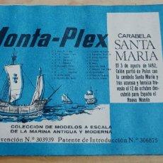 Figuras de Goma y PVC: SOBRE VACÍO CARABELA SANTA MARÍA MONTAPLEX AÑOS 70. Lote 211262502