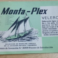 Figuras de Goma y PVC: SOBRE VACÍO MONTAPLEX VELERO AÑOS 70. Lote 211262529