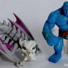 Figuras de Goma y PVC: LOTE DE 2 FIGURAS DE CLASH OF HEROES DE GOMA TITAN Y DRAGON DE HUESOS. Lote 211419296