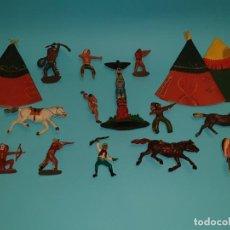 Figuras de Goma y PVC: VARIAS FIGURAS INDIOS Y COWBOYS DE JECSAN (TIPO PECH, JECSAN) EN GOMA.. Lote 211652086