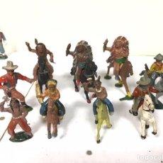 Figuras de Goma y PVC: FIGURA INDIO VAQUERO LAFREDO GOMA AÑOS 50 OESTE WESTERN COWBOY NO PECH REAMSA. Lote 211735558