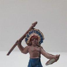 Figuras de Borracha e PVC: JEFE INDIO . REALIZADO POR JECSAN . SERIE PEQUEÑA . AÑOS 50 EN GOMA. Lote 211751886