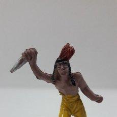 Figuras de Borracha e PVC: GUERRERO INDIO CON PUÑAL . REALIZADO POR JECSAN . SERIE PEQUEÑA . AÑOS 50 EN GOMA. Lote 211753253