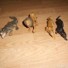 Figuras de Goma y PVC: LOTE 4 ANIMALES SALVAJES, LEON, PANTERA NEGRA Y LEOPARDO DE PAPO. COCODRILO DE SCHLEICH.. Lote 211888720