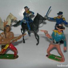 Figuras de Goma y PVC: LOTE DE 6 FIGURAS DE COMANSI DE LOS AÑOS 60/70 MÁS 1 DE REGALO - SOLDADOS, INDIO, VAQUERO, CABALLO -. Lote 211960592