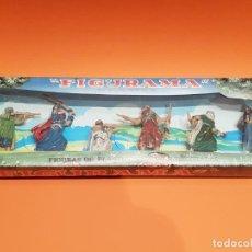 Figuras de Goma y PVC: CAJA REPRO DE REAMSA, CON FIGURAS BEDUINOS SÈRIE LAWRENCE DE ARABIA , PLÁSTICO.. Lote 212561473