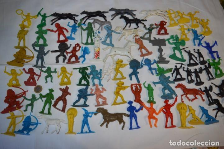 INDIOS Y VAQUEROS, 75 PIEZAS / PLÁSTICO/PVC - COMANSI, OLIVER, PUIG, PECH, JECSAN, OTRAS ... ¡MIRA! (Juguetes - Figuras de Goma y Pvc - Otras)