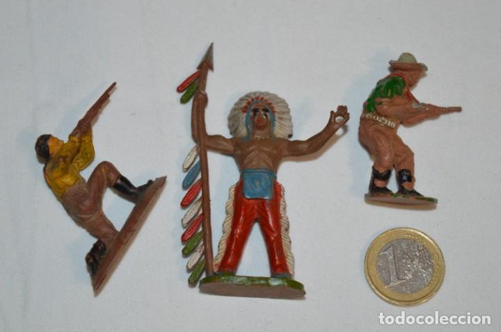 JEFE INDIO Y VAQUEROS / EN GOMA - TEIXIDO, OLIVER, PUIG, PECH, JECSAN, OTRAS ... ¡MIRA FOTOS! (Juguetes - Figuras de Goma y Pvc - Otras)