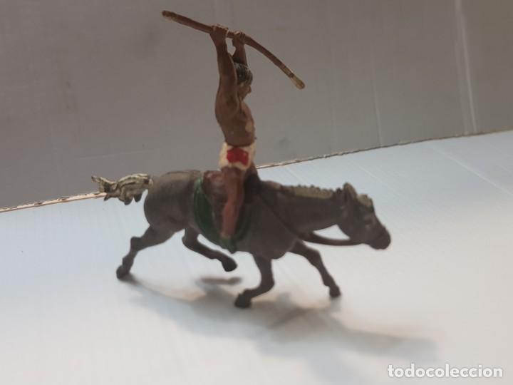 Figuras de Goma y PVC: Figura Indio a Caballo con Lanza en Goma de Gama - Foto 2 - 213100453