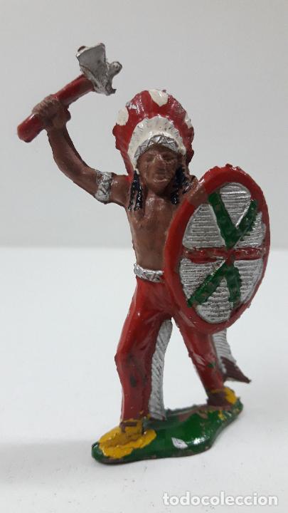 JEFE INDIO . REALIZADO POR LAFREDO . ORIGINAL AÑOS 50 EN GOMA (Juguetes - Figuras de Goma y Pvc - Lafredo)