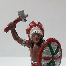 Figuras de Goma y PVC: JEFE INDIO . REALIZADO POR LAFREDO . ORIGINAL AÑOS 50 EN GOMA. Lote 213675182