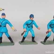 Figuras de Borracha e PVC: LOTE 3 SOLDADOS STARLUX GUERRA CIVIL AMERICANA, EJERCITO NORDISTA, AÑOS 60-70, CON FALTAS. Lote 213773186