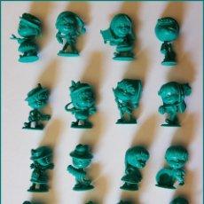 Figuras de Goma y PVC: DUNKIN NIÑOS CABEZONES EL Y ELLA LOTE DE 16 FIGURAS RAJA PORTUGAL COLECCION COMPLETA. Lote 213861476