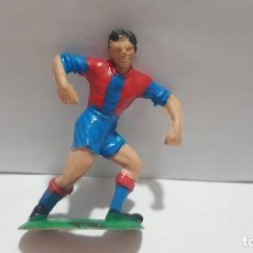 Figuras de Goma y PVC: ANTIGUA FIGURA JUGADOR FUTBOL F.C. BARCELONA EN GOMA AÑOS 60 JECSAN. Lote 215225490