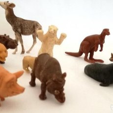 Figuras de Goma y PVC: LOTE 9 ANIMALES DE PLÁSTICO EL OKAPI ES BRITAINS ENGLAND OTROS SON HONG KONG. Lote 215386766