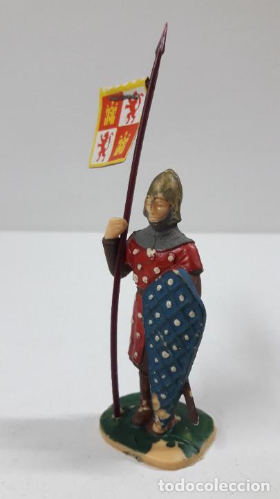Figuras de Goma y PVC: GUERRERO CRISTIANO CON ESTANDARTE . FIGURA REAMSA . SERIE EL CID CAMPEADOR . AÑOS 60 - Foto 3 - 215717507