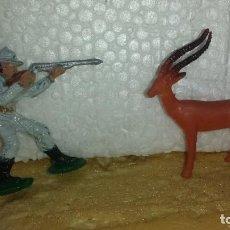 Figuras de Goma y PVC: CAZADOR Y ANTILOPE DE PECH. Lote 216591887