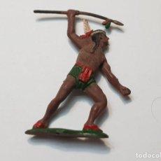 Figuras de Goma y PVC: FIGURA GUERRERO INDIO CON LANZA EN GOMA TEIXIDO. Lote 217041682