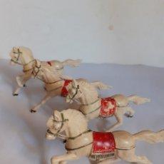 Figuras de Goma y PVC: REAMSA LOTE 4 CABALLOS CUADRIGAS PLASTICO. Lote 217521625