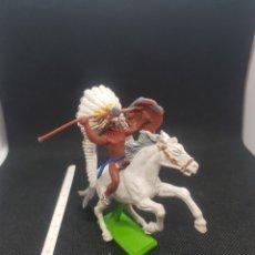 Figuras de Goma y PVC: FIGURA DE INDIO A CABALLO MARCA BRITAINS DEETAIL 1971. Lote 217808181