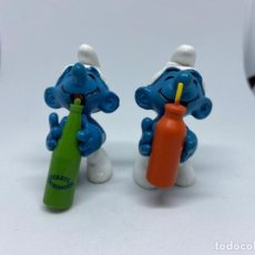 Figuras de Goma y PVC: -PITUFOS- CON BOTELLA VERDE Y NARANJA 20057 Y VARIANTE -SCHLEICH - SMURF SCHLUMPF. Lote 117553803