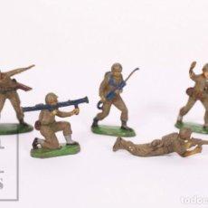Figuras de Goma y PVC: CONJUNTO DE 5 SOLDADOS DE GOMA JECSAN - MARINES DE INFANTERÍA / SOLDADOS AMERICANOS - AÑOS 60. Lote 217892191
