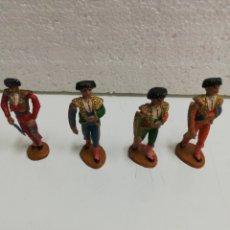 Figuras de Borracha e PVC: LOTE DE 4 TOREROS Y BANDERILLEROS. TEIXIDO.. Lote 218007495