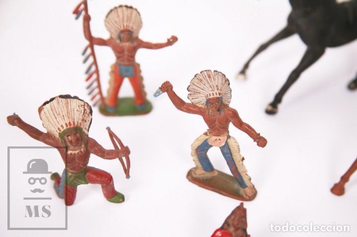 Figuras de Goma y PVC: Conjunto de 5 Caballos y 6 Indios de Goma Sotorres - Años 50-60 - Foto 2 - 218085131
