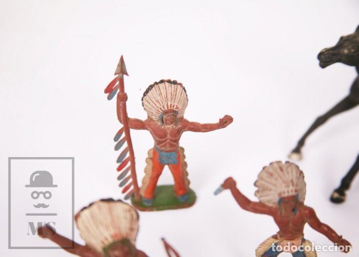 Figuras de Goma y PVC: Conjunto de 5 Caballos y 6 Indios de Goma Sotorres - Años 50-60 - Foto 3 - 218085131