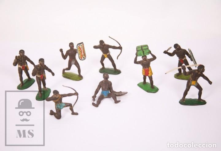 COLECCIÓN SAFARI DE GOMA SOTORRES - 9 GUERREROS AFRICANOS / ÁFRICA - AÑOS 50-60 (Juguetes - Figuras de Goma y Pvc - Sotorres)
