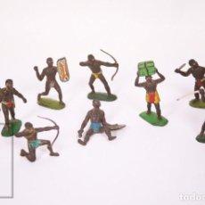 Figuras de Goma y PVC: COLECCIÓN SAFARI DE GOMA SOTORRES - 9 GUERREROS AFRICANOS / ÁFRICA - AÑOS 50-60. Lote 218088381
