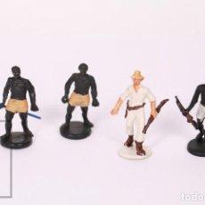 Figuras de Goma y PVC: CONJUNTO DE 4 FIGURAS DE PLÁSTICO GAMA - EXPLORADORES MINAS DEL REY SALOMÓN - AÑOS 60-70. Lote 218093742