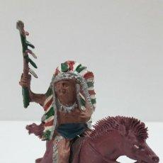 Figuras de Goma y PVC: JEFE INDIO PARA CABALLO . REALIZADO POR LAFREDO . AÑOS 50 EN GOMA . CABALLO NO INCLUIDO. Lote 218186118