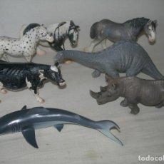 Figuras de Goma y PVC: LOTE DE 7 FIGURAS DE GOMA O PVC DE ANIMALES GRAN REALISMO DE LA MARCA SCHLEICH MÁS 3 DE REGALO. Lote 218488208