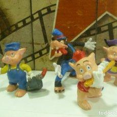 Figuras de Goma y PVC: FIGURAS DEL LOBO FEROZ Y LOS TRES CERDITOS. Lote 218814036