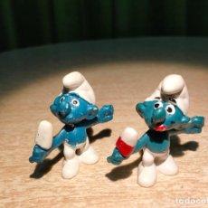 Figuras de Goma y PVC: LOTE PITUFOS COMIENDO HELADO, UNO CON ERROR DE FÁBRCA EN PINTURA - BOOTLEG - SPAIN - PVC NO TOXICO.. Lote 219029536