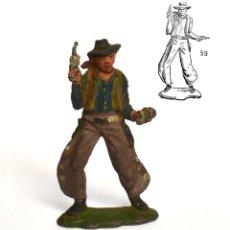 Figurines en Caoutchouc et PVC: COWBOY DE LA MARCA REAMSA, EN GOMA, CIRCA 1950, Nº 59 DEL CATÁLOGO.. Lote 219214838