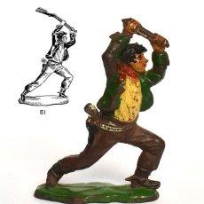 Figuras de Goma y PVC: COWBOY DE LA MARCA REAMSA, EN GOMA, CIRCA 1950, Nº 61 DEL CATÁLOGO.. Lote 219215155