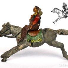 Figuras de Borracha e PVC: COWBOY A CABALLO DE LA MARCA REAMSA, EN GOMA, CIRCA 1950, Nº 51 BIS DEL CATÁLOGO.. Lote 219215433