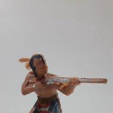 Figuras de Goma y PVC: GUERRERO INDIO . BATALLA DE LITTLE BIG HORN . FIGURA REAMSA . AÑOS 60. Lote 219221996