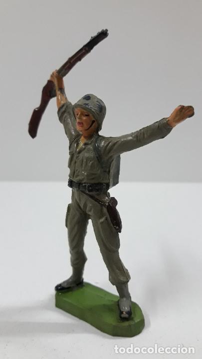 Figuras de Goma y PVC: SOLDADO AMERICANO . REALIZADO POR JECSAN . SERIE MARINES DE INFANTERIA . ORIGINAL AÑOS 50 EN GOMA - Foto 3 - 219384961